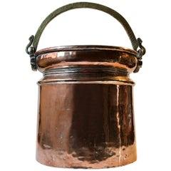 Antique Scandinavian Coal or Fireplace Bucket in Copper, 18th Cen