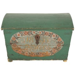 Antique Scandinavian Decorated Wedding Dowry Dome Top Trunk, Sweden 1812, B2060
