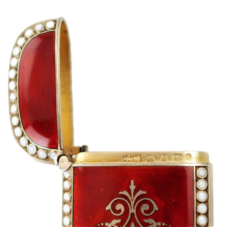 Antique Scandinavian Enameled Sterling Silver Vesta Case with Neoclassical Motif For Sale 7
