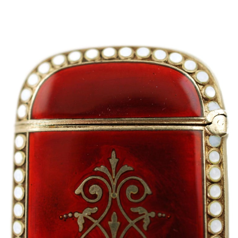 Antique Scandinavian Enameled Sterling Silver Vesta Case with Neoclassical Motif For Sale 1
