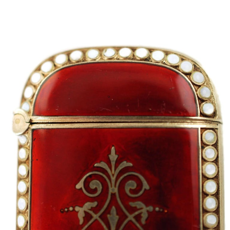 Antique Scandinavian Enameled Sterling Silver Vesta Case with Neoclassical Motif For Sale 2