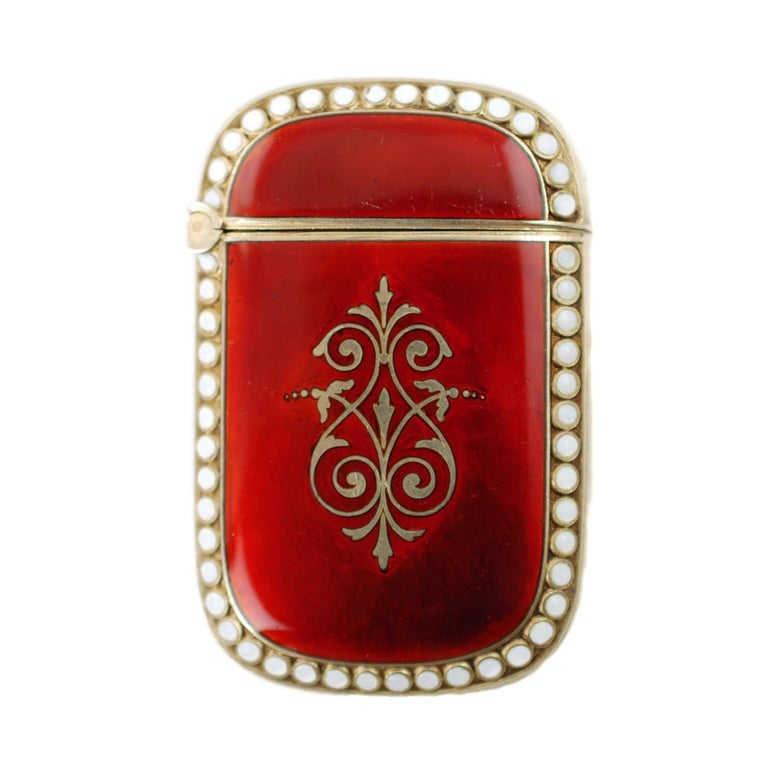 Antique Scandinavian Enameled Sterling Silver Vesta Case with Neoclassical Motif For Sale