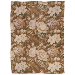 Antique Scandinavian Rya Rug, Allover Field, Brown Green and Pink Accents