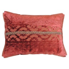 Antique Scarlet Red Silk Velvet Gaufrage Bolster Decorative Pillow