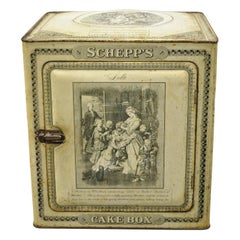 Antique Schepp's Cake Box Advertising French Lithographs Tin Metal