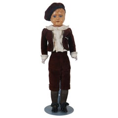 Antique Schutz-Marke Celluloid Head Leather Body Boy Doll Scotch Bonnet