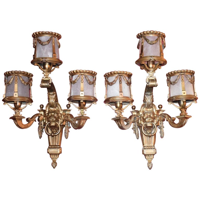 Antique Sconces with Alabaster Shades For Sale