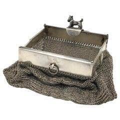 Antique Scotch Terrier Silver Dog Fidelity Purse Pendant Silvermesh