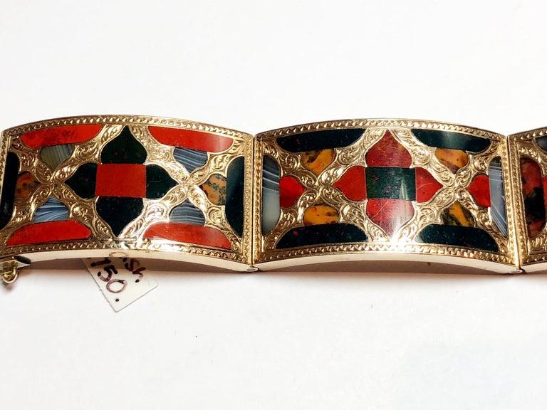 Antique Scottish Agate Gold Bracelet For Sale 1