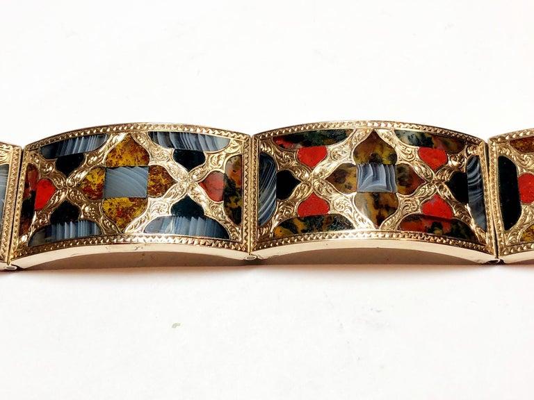 Antique Scottish Agate Gold Bracelet For Sale 2