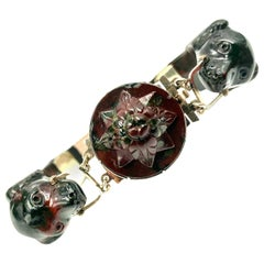 Antique Scottish Carved Bloodstone and Gold Dog Motif Bracelet, 1840