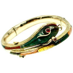 Antique Scottish Gold, Agate Snake Bracelet, Ruby Eyes, 19th Century