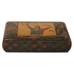 Antique Scottish Hand Decorated Rare Tartan-Ware Wooden Snuff Box