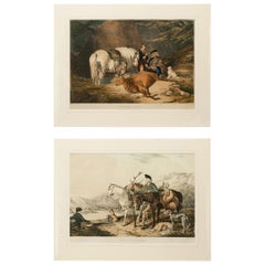 Antique Scottish Hunting Scenes, Pair of Highland Lithographs, Perthshire Forest