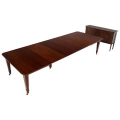 Antique Scottish Mahogany Extending Dining Table with Four Leaves & Leaf Holder
