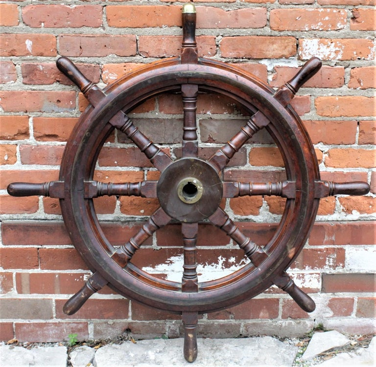Late Victorian Antique Scottish Mahogany Nautical Ship's Wheel and American Brass Horn Pairing For Sale