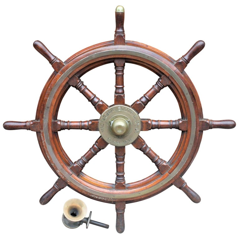 Antique Scottish Mahogany Nautical Ship's Wheel and American Brass Horn Pairing For Sale