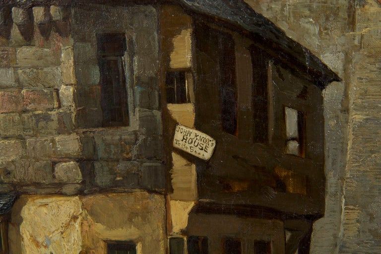 Antique Scottish Oil Painting of John Knox House, circa 1840-1860 For Sale 8