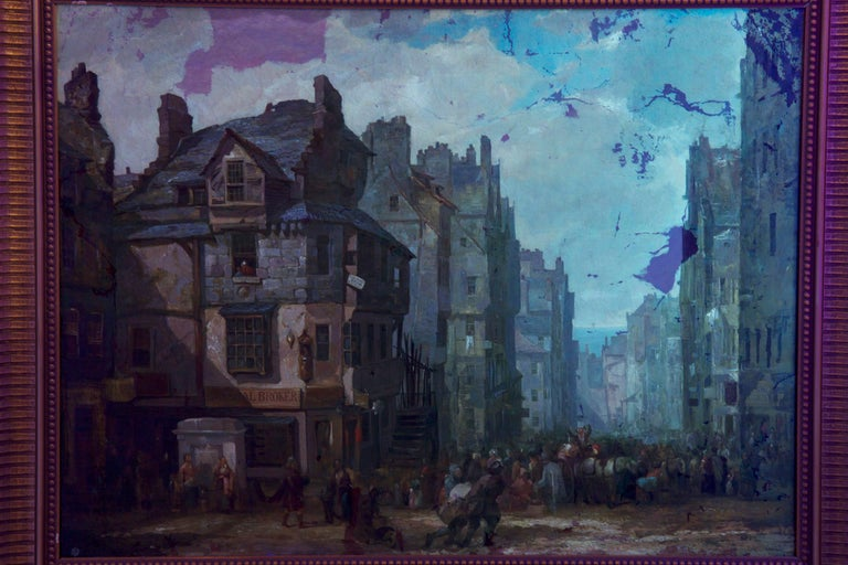 Antique Scottish Oil Painting of John Knox House, circa 1840-1860 For Sale 10
