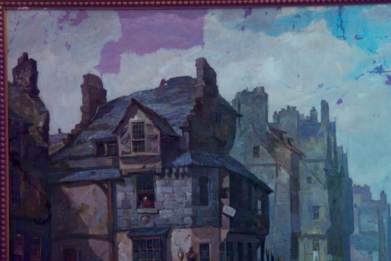 Antique Scottish Oil Painting of John Knox House, circa 1840-1860 For Sale 12