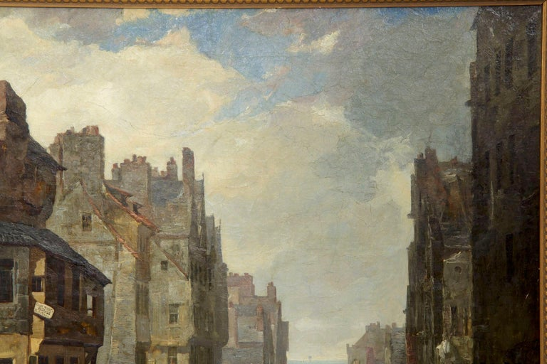 Romantic Antique Scottish Oil Painting of John Knox House, circa 1840-1860 For Sale
