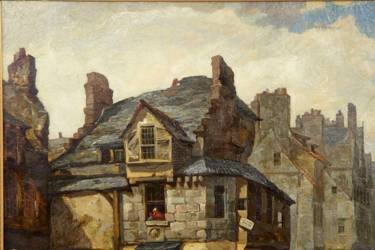 Antique Scottish Oil Painting of John Knox House, circa 1840-1860 In Good Condition For Sale In Shippensburg, PA