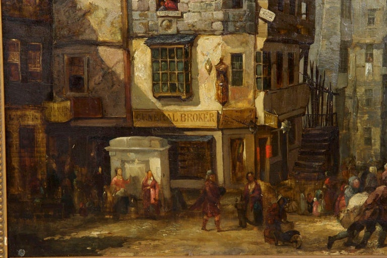 19th Century Antique Scottish Oil Painting of John Knox House, circa 1840-1860 For Sale