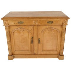 Antique Scottish Pine Farmhouse Kitchen Sideboard Cupboard, Scotland 1880, B2133