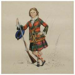 Antique Scottish Shooting Engraving of Sir James Macdonald, Boy with Gun