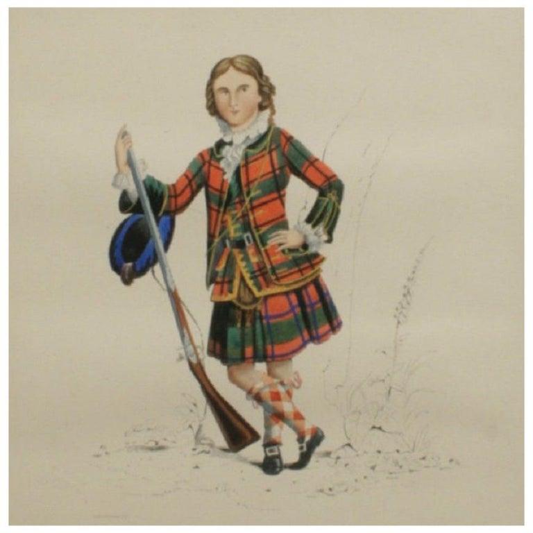 Antique Scottish Shooting Engraving of Sir James Macdonald, Boy with Gun For Sale