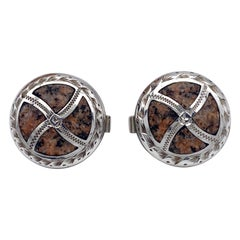 Antique Scottish Silver Pebble Cufflinks