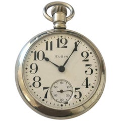 Antique Screw Back Silver Nickel Pocket Watch Signed Elgin Nat'l Watch Co. U.S.A