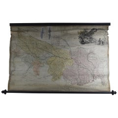 Antique Scroll Map of India by James Rennell, Dated 1786