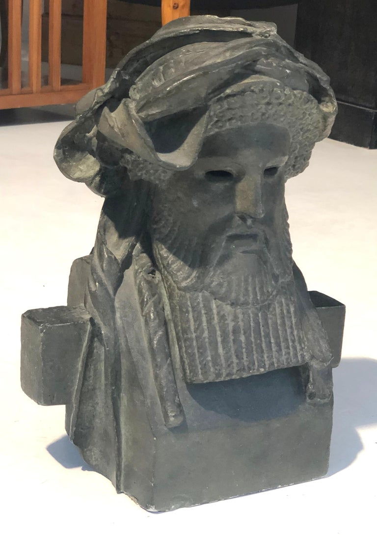 Antique Sculpture Dionysos Herm Plaster Cast Mahogany France For Sale 1