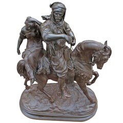 Antique Sculpture Double figure,Equestrian group, Arab Warrior by E.Guillemin 18