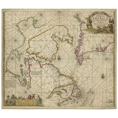 Antique Sea Chart of Hudson Bay and Arctic Canada by Van Keulen, circa 1681