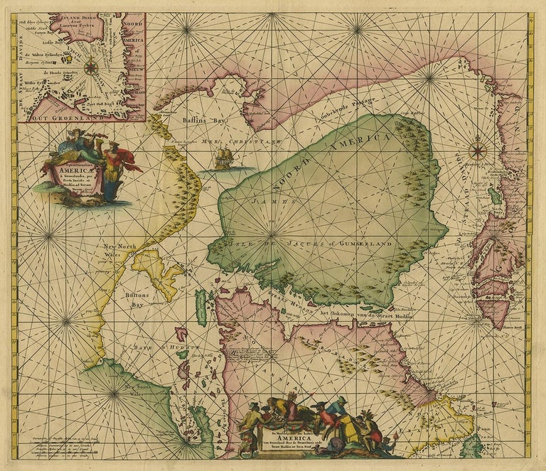 Antique map titled 'Septemtrionaliora Americae a Groenlandia (..)'. Sea chart of the northern waters of North America, including the coast of Labrador and part of New Foundland, the west coast of Greenland, Davis Strait, via a non-existent passage