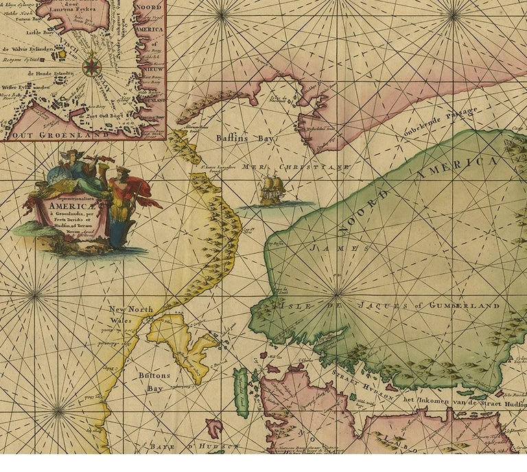 Antique Sea Chart of North America by Ottens, circa 1745 In Good Condition For Sale In Langweer, NL