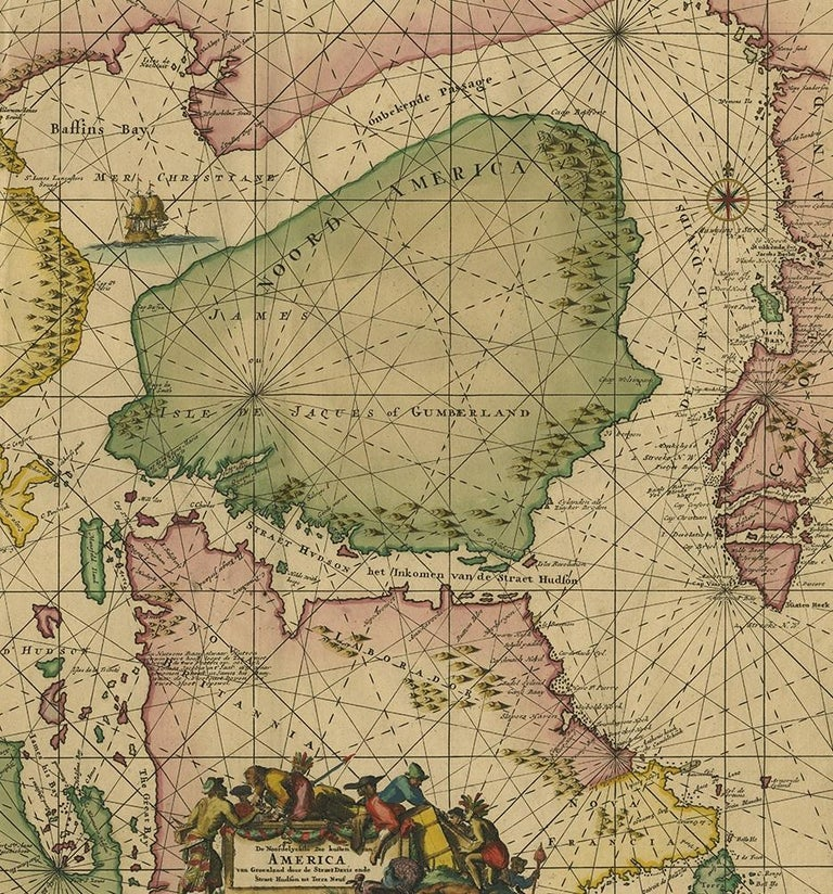 18th Century Antique Sea Chart of North America by Ottens, circa 1745 For Sale