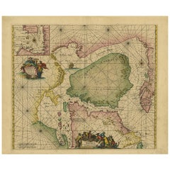 Antique Sea Chart of North America by Ottens, circa 1745