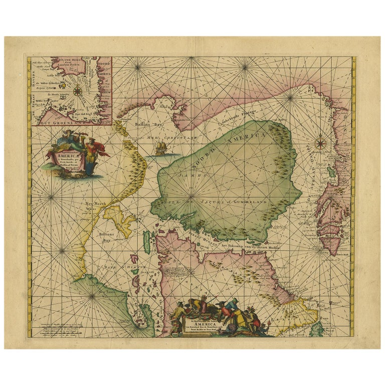 Antique Sea Chart of North America by Ottens, circa 1745 For Sale