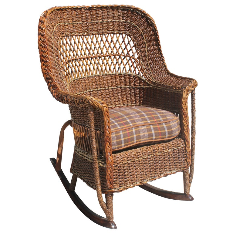 Antique Sea Grass and Wicker Rocker with Custom Cushion For Sale