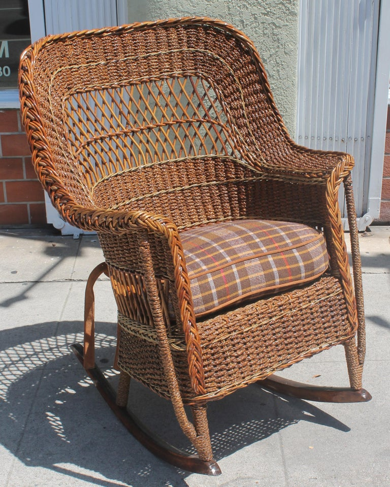 Pleasing Antique Sea Grass And Wicker Rocker At 1Stdibs Dailytribune Chair Design For Home Dailytribuneorg