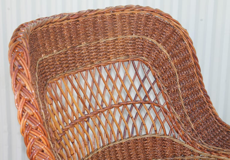 Antique Sea Grass and Wicker Rocker with Custom Cushion For Sale 2