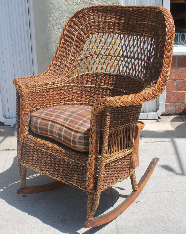 Adirondack Antique Sea Grass and Wicker Rocker with Custom Cushion For Sale
