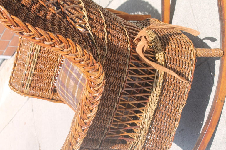 American Antique Sea Grass and Wicker Rocker with Custom Cushion For Sale
