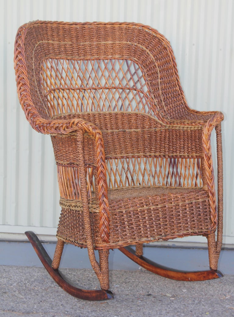 Hand-Crafted Antique Sea Grass and Wicker Rocker with Custom Cushion For Sale