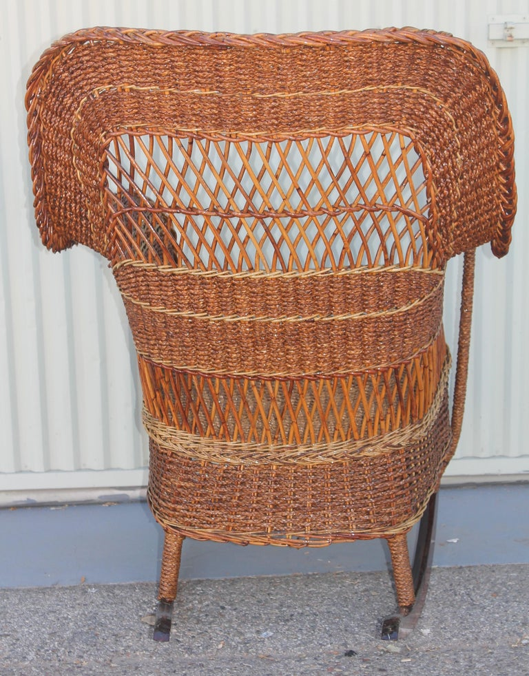 Antique Sea Grass and Wicker Rocker with Custom Cushion In Good Condition For Sale In Los Angeles, CA