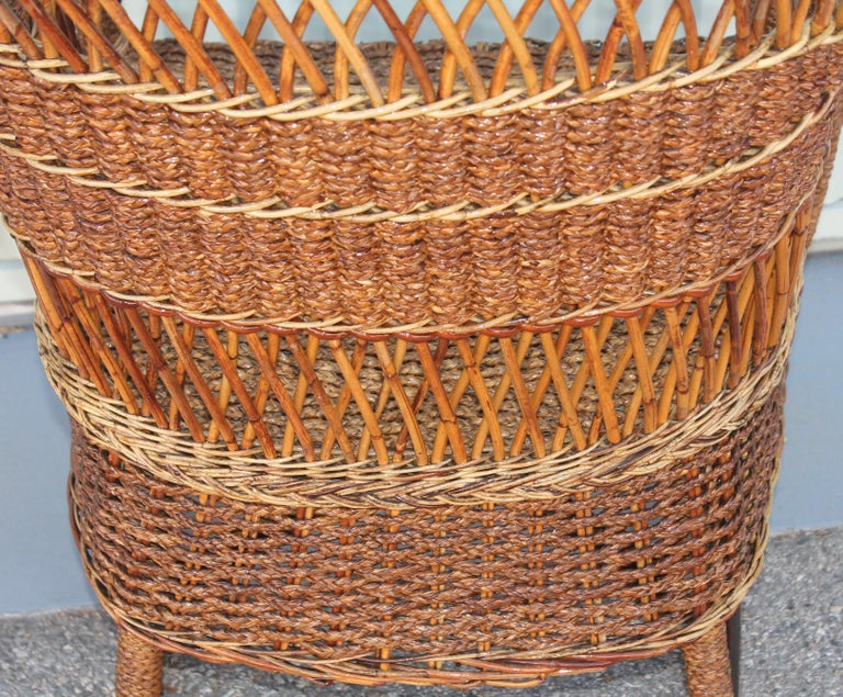 20th Century Antique Sea Grass and Wicker Rocker with Custom Cushion For Sale