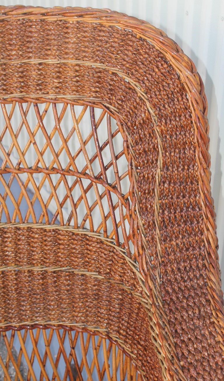 Seagrass Antique Sea Grass and Wicker Rocker with Custom Cushion